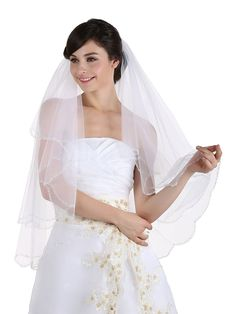 2T 2 Tier Beaded Scallop Edge Center Gathered Circular Veil Fingertip Length 36' -- You can get more details by clicking on the image.