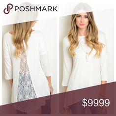 30% Off Bundles! Lace Back High Low White Top Sweet and chic! This 3/4 length top has a lacy back panel and a high/ low cut. It is 96% rayon and 4% spandex. It comes in small, medium, and large. NEW Boutique Tops Tees - Long Sleeve