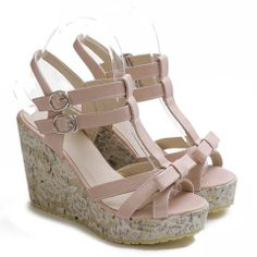 Sweet Women's Sandals With Bowknot and Wedge Design