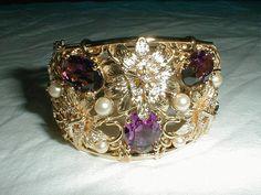 vtg nolan miller cz bracelet purple clear by qualityvintagejewels. www.qualityvintagejewelry.com .