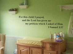 1 Samuel 1:27 Baby Room Wall Decal Nursery Decor | eBay