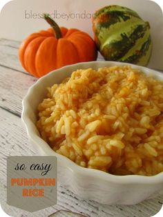 Such an EASY recipe pumpkin rice. It has just a hint of pumpkin. It's great with grilled chicken.