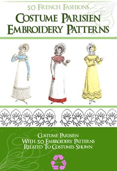Only $3.99 ~ PDF Book ~ Instant Digital Download. COSTUME PARISIEN 50 French Fashion Designs with Embroidery Patterns to print out and use. Vintage
