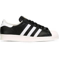 Adidas Originals Superstar 80 Sneakers ($108) ❤ liked on Polyvore featuring shoes, sneakers, black, lacing sneakers, black trainers, adidas originals sneakers, black sneakers and black flat shoes