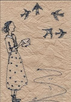 Betty sends a letter by air mail xx | Michelle Holmes Embroidery