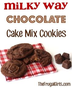Milky Way Chocolate Cake Mix Cookies Recipe! ~ from TheFrugalGirls.com ~ this easy cookie recipe is out-of-this-galaxy-good! #cakemix #recipes #thefrugalgirls