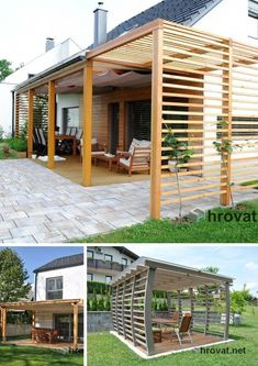 Wooden pergolas for a perfect shadow during hot sumer days . - CLICK PIC for Many Patio Ideas, Patio Furniture and other Perfect Patio Inspiration. Diy Pergola, Pergola Decorations, Wood Pergola, Pergola With Roof, Outdoor Pergola, Pergola Shade, Patio Roof, Pergola Plans, Pergola Kits