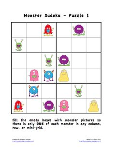 Practice Spanish colors and body parts with these free printable Sudoku puzzles. Bookish Ways in Math and Science: Sudoku Puzzles With Pictures German Language Learning, Spanish Language, French Language, Sudoku Puzzles, Math Problem Solving, Halloween Math, Kindergarten Activities, Group Activities, Math For Kids