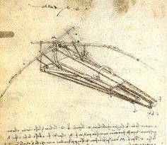 Um dos desenhos de Leonardo da Vinci para um Ornithopter, tinta por Leonardo Da Vinci (1452-1519, Italy)