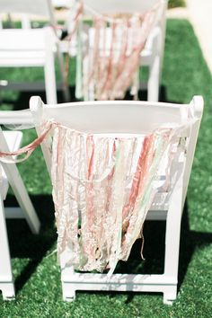 Unique wedding ceremony decor - strands of ribbon to decorate wedding ceremony chairs {Stephanie Brazzle Photography}