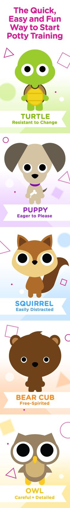 Find out which of our potty personalities sounds most like your child to get a more personalized potty training experience! From helping teach your Squirrel how to focus, giving clear directions to your Owl, or keeping things fun for your Bear Cub, we have tips and tricks tailored specifically to your child's behavior.