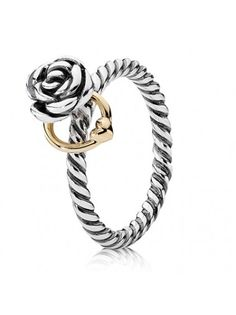 Pandora Silver 14ct Gold Rose and Heart Ring 190860