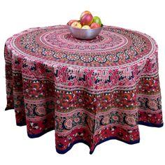 "Handmade 100% Cotton Elephant Mandala Floral 81"" Round Tablecloth Blue Red Orange Green"