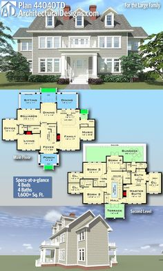 Plan For the Large Family Architectural Designs Home Plan gives you 4 bedrooms, 4 baths and sq. Ready when you are! Where do YOU want to build? The Plan, How To Plan, Dream House Plans, House Floor Plans, My Dream Home, Colonial House Plans, Plans Architecture, Architecture Design, Design Home Plans