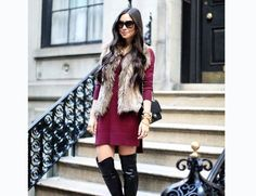 This is a play on textures. Wear your boots with a faux fur vest or coat for a super stylish winter look.