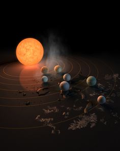 The TRAPPIST-1 star, an ultra-cool dwarf, has seven Earth-size planets orbiting it. This artist's concept appeared on the cover of the journal Nature in Feb. 23, 2017 announcing new results about the system.  Three of the exoplanets are in the habitable zone.