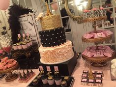 Stunning desserts at a French Parisian bridal shower party! See more party ideas at CatchMyParty.com!