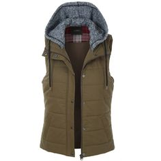 LE3NO Womens Quilted Padded Sleeveless Puffer Vest ($31) ❤ liked on Polyvore featuring outerwear, vests, military vests, anorak jacket, brown vest, lightweight quilted vest and anorak coat