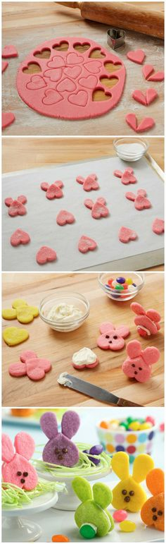 Bunny Sandwich Cookies ~ Cute and colorful, these bunny sandwich cookies are as adorable from the back as they are from the front!