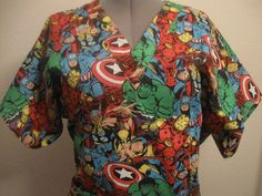 MARVEL COMIC HEROES scrub top would be the PERFECT nurses day gift for me!! Just sayin'. Hint. Hint. ;P