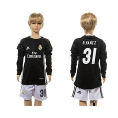 Real Madrid Trøje Børn 16-17 #R.Yanez 31 målmand Sort Trøje Lange ærmer.199,62KR.shirtshopservice@gmail.com