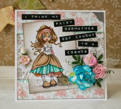 Folded Paper & Printed Pixels: She's caught somewhere! Fairy Godmother, Tidy Up, Copic Markers, Treat Bags, Scrapbook Cards, Card Ideas, Stamps, Coloring, Objects