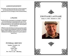 Free Funeral Memorial Order Of Service Programs Template For