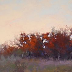 Fading Autumn Light Study || Barbara Jaenicke, Pastel on Panel 6 x 6""