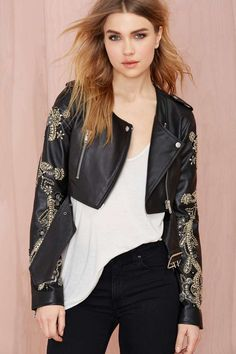Nasty Gal Storm Rider Embroidered Leather Moto Jacket   Shop Jackets + Coats at Nasty Gal