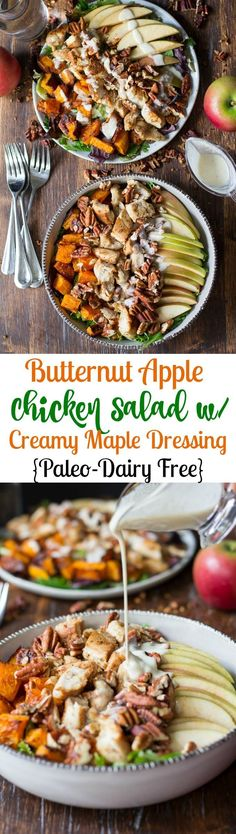 Paleo Roasted Butternut Apple Chicken Salad topped with crunchy pecans and creamy maple cider dressing - gluten free, dairy free, Paleo (Paleo Apple Recipes)