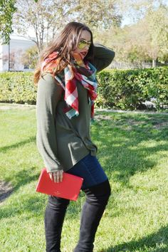 Blanket Scarf and Over The Knee Boots Fall and Winter Outfit