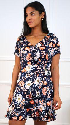 Navy wrap dress, navy dress, frill detail dress, floral print dress, navy mini dress, orange floral dress, occasion wear dress Navy Mini Dresses, Navy Dress, Occasion Wear Dresses, No Frills, Wrap Dress, Floral Prints, Boutique, Casual, How To Wear