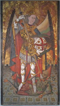 Saint Michael, 1450–1500, Master of Belmonte; the saint symbolises Christ triumphant over evil and the demon, the Antichrist. (Metropolitan Museum of Art)