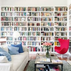 Stunning Home Library Ideas for Your Home. The love of reading is great, home library are awesome. However, the scattered books make the feeling less comfortable and the house a mess. Floor To Ceiling Bookshelves, Bookshelves In Bedroom, Room Shelves, Library Bookshelves, Wall Bookshelves, Fireplace Bookcase, Ikea Book Shelves, Bookshelf Living Room, Ikea Shelf Hack