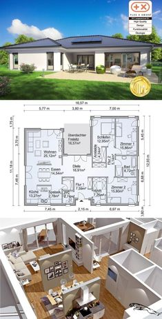 Modern Bungalow House Floor Plan in Uform with Hipped Roof Architecture & Covered Terrace – Single Family Home Build Prefabricated House SH 169 WB by ScanHaus Marlow – HausbauDirekt. My House Plans, House Layout Plans, Modern House Plans, House Layouts, Small House Plans, House Floor Plans, Bungalow Floor Plans, Bungalow House Design, Modern House Design