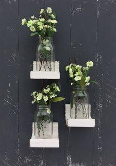 Rustic farmhouse wall decor shelf for mason jars, vases and candles