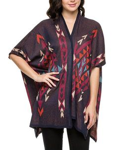Burgundy Blue Rust Aztec Print Open Front Knit Tribal Poncho Sweater Cardigan  #ClothingBucket #cardigansweater