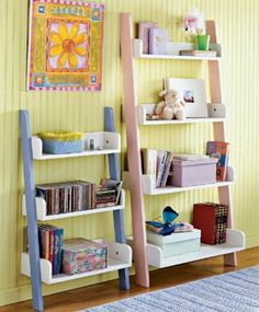 always loved these bookshelves.  storage space for toys and books!