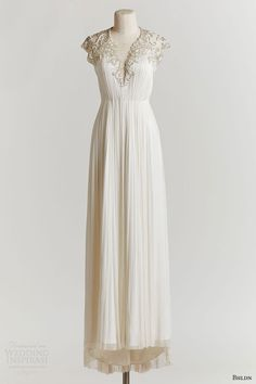 bhldn spring 2015 winnie ruched wedding dress beaded cap sleeve bodice