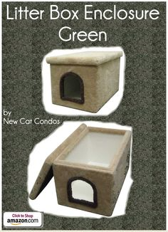 "Litter Box Enclosure - Green by New Cat Condos - Carpeted outside and laminate inside for your cat's bathroom break. One of the easiest kitty litter boxes to clean and take care of. Easy to lift off lid Easy to clean Stain Resistant Extremely Sturdy Construction No Assembly Inside dimensions: 32""L x 19""W x 19""H Outside dimensions: 33""L x 21""W x 19""H Opening: 9""H x 8""W - Price: $119.99 -  #catlitterboxfurniture #cat #litter #box #furniture - http://www.catbedandtoy.com/cat-litter-box-furniture"