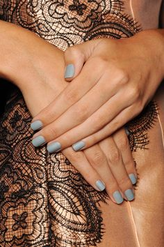 Lela Rose Spring 2014: Nails by: Katie Hughes for Butter London Products used: Two coats of Lady Muck ($15), followed by Matte Finish Shine Free Topcoat ($19). Source: Butter London