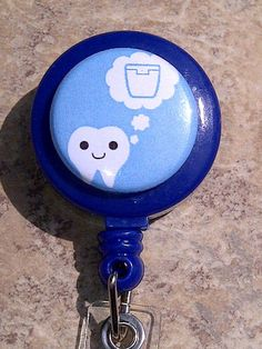 Dentist Blue Tooth Floss Badge REEL retractable ID Card Nurse Key Card Dental Hygienist. via Etsy.