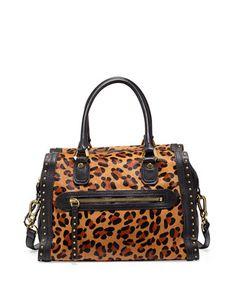 Brenda Studded Calf-Hair Duffle Bag, Leopard by Oryany at Neiman Marcus Last Call. $535