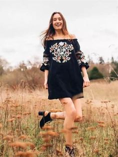 LoverMalls Black Floral Embroidery Off Shoulder Backless Plus Size Lantern Sleeve Mexican Mini Dress Mexican Embroidered Dress, Floral Embroidery Dress, Boho Floral Dress, Boho Mini Dress, Mini Dress With Sleeves, Boho Summer Outfits, Casual Outfits, Summer Clothes, Fall Outfits