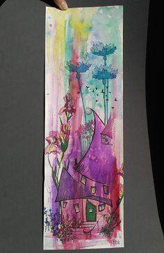 Fairy Tale House painting ORIGINAL art work vertical by ImbirArt