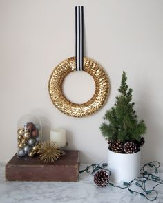 DIY Sequin Wreath - Hello Yellow Blog #LeonsHelloHoliday
