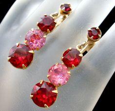Vintage Red Pink Rhinestone Earrings Gold Filled Dangle Screwback Ruby Prong Set   eBay