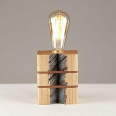 Lámpara de sobremesa madera reciclada castaño Retuerta 50