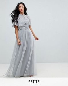 Frock And Frill Petite Premium Embellished Top High Neck Maxi Dress