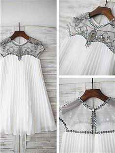 A-line/Princess Scoop Short Sleeves Beading Floor-Length Chiffon Flower Girl Dresses